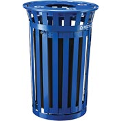 Global Industrial™ Outdoor Steel Recycling Receptacle w/Access Door & Flat Lid - 36 Gallon Blue