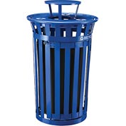 Global™ Outdoor Steel Recycling Receptacle w/Access Door & Rain Bonnet Lid - 36 Gallon Blue