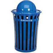 Global™ Outdoor Steel Recycling Receptacle with Dome Lid - 36 Gallon Blue