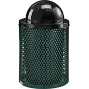 Global™ Thermoplastic Coated 32 Gallon Mesh Receptacle w/Dome Lid - Green