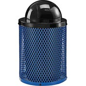 Global™ Thermoplastic Coated 32 Gallon Mesh Receptacle w/Dome Lid - Blue
