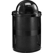 Global™ Thermoplastic Coated 32 Gallon Perforated Receptacle w/Dome Lid - Black