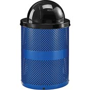 Global™ Thermoplastic Coated 32 Gallon Perforated Receptacle w/Dome Lid - Blue