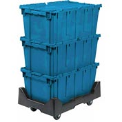 Attached Lid Shipping Container 27-3/16 x 16-5/8 x 12-1/2 Blue with Dolly Combo
