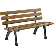 4'L Plastic Park Bench With Backrest - Tan