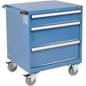 Global&#8482 Mobile Modular Drawer Cabinet, 3 Drawers, w/Lock, w/o Dividers, 30x27x36-7/10, Blue
