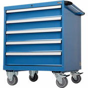 "Global&#8482 Mobile Modular Drawer Cabinet, 5 Drawers, w/Lock, no Dividers, 30""Wx27""Dx36-7/10""H Blue"