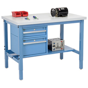 "72""W X 36""D Production Workbench - Plastic Laminate Square Edge with Drawers & Lower Shelf - Blue"