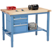 "72""W X 36""D Production Workbench - Maple Butcher Block Square Edge with Drawers & Lower Shelf - Blue"