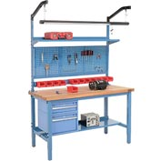 "60""W X 30""D Production Workbench - Maple Butcher Block Square Edge Complete Bench - Blue"