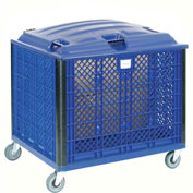 "Collapsible Vented Wall Bulk Container with Lid and Casters, 39-1/4""L x 31-1/2""W x 29""H, Blue"