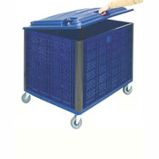 "Collapsible Solid Wall Bulk Container with Lid and Casters, 39-1/4""L x 31-1/2""W x 29""H, Blue"