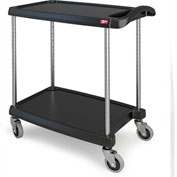 "Metro myCart™ Two-Shelf Utility Cart with Chrome-Plated Posts - 25x18"" Shelves-Black"