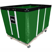 "10 BU-Std-Duty Basket Trucks By Royal - Vinyl Liner - 24""Wx36""Dx31-1/2""""H 4 Swivel Casters-Green"