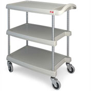 "Metro myCart™ Three-Shelf Utility Cart with Chrome-Plated Posts - 25x18"" Shelves Gray"