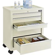 Global™ 5-Drawer Medical Bedside Cart, Key Lock, Beige