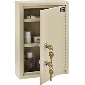 "Global® Medical Security Cabinet, 8""W x 2-5/8""D x 12-1/8""H, 2 Key Locks, Beige"