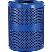 Global™ Thermoplastic 32 Gallon Perforated Recycling Receptacle w/Flat Lid - Blue