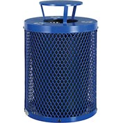 Global™ Thermoplastic 32 Gallon Mesh Recycling Receptacle w/Rain Bonnet Lid - Blue