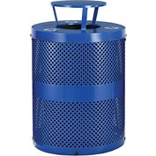 Global™ Thermoplastic 32 Gallon Perforated Recycling Receptacle w/Rain Bonnet Lid - Blue