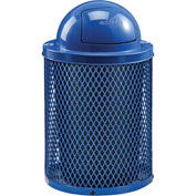 Global™ Thermoplastic 32 Gallon Mesh Recycling Receptacle w/Dome Lid - Blue