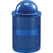 Global™ Thermoplastic 32 Gallon Perforated Recycling Receptacle w/Dome Lid - Blue