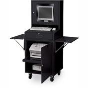Mobile Flat-Screen Computer Cabinet, Black