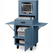 Mobile Flat-Screen Computer Cabinet, Blue