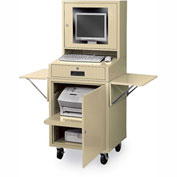 "Edsal Mobile Flat-Screen Computer Cabinet, 30-1/2""W x 22-1/2""D x 62""H, Putty"