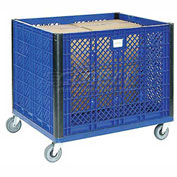 "Collapsible Vented Wall Bulk Container withCasters, 39-1/4""L x 31-1/2""W x 29""H, Blue"