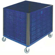 "Collapsible Solid Wall Bulk Container with Casters, 39-1/4""L x 31-1/2""W x 29""H, Blue"