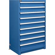 "Global™ Modular Drawer Cabinet, 9 Drawers, w/Lock, w/o Dividers, 36""Wx24""Dx57""H Blue"