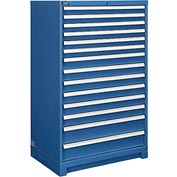 "Global™ Modular Drawer Cabinet, 14 Drawers, w/Lock, w/o Dividers, 36""Wx24""Dx57""H Blue"