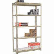 "Heavy Duty Tan Shelving 36""W x 12""D x 84""H With 5 Shelves, Laminate Deck"