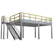 "9'H Pre-Engineered Mezzanine (12'W x 48'D) With Resin Board Over 1-1/2"" Corrugated Steel Deck"