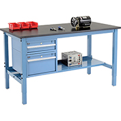 "60""W X 36""D Production Workbench - Phenolic Resin Safety Edge with Drawers & Shelf - Blue"
