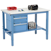 """72""""W X 30""""D Production Workbench - ESD Laminate Safety Edge with Drawers & Shelf - Blue"""