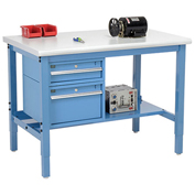 "72""W X 30""D Production Workbench - Plastic Laminate Safety Edge with Drawers & Shelf - Blue"