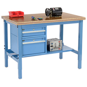 "72""W X 30""D Production Workbench - Shop Top Safety Edge with Drawers & Shelf - Blue"
