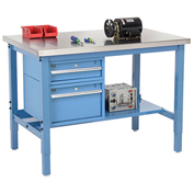 "72""W X 30""D Production Workbench - Stainless Steel Square Edge with Drawers & Shelf - Blue"
