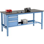 "72""W X 36""D Production Workbench - Phenolic Resin Safety Edge with Drawers & Shelf - Blue"