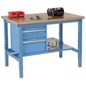 """72""""W X 36""""D Production Workbench - Shop Top Square Edge with Drawers & Shelf - Blue"""