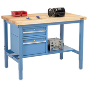 "96""W X 30""D Production Workbench - Birch Butcher Block Square Edge with Drawers & Shelf - Blue"
