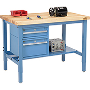 "48""W X 30""D Production Workbench - Birch Butcher Block Square Edge with Drawers & Shelf - Blue"