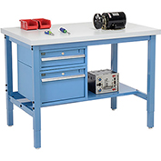 "48""W X 30""D Production Workbench - Plastic Laminate Square Edge with Drawers & Shelf - Blue"