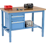 "48""W X 30""D Production Workbench - Shop Top Safety Edge with Drawers & Shelf - Blue"