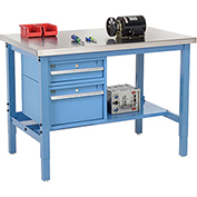 "48""W X 30""D Production Workbench - SS Square Edge with Drawers & Shelf - Blue"