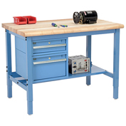 """48""""W X 36""""D Production Workbench - Maple Butcher Block Safety Edge with Drawers & Shelf - Blue"""