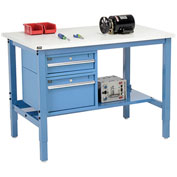 """48""""W X 36""""D Production Workbench - ESD Laminate Square Edge with Drawers & Shelf - Blue"""