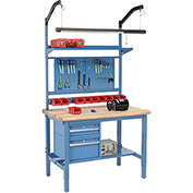 "48""W X 30""D Production Workbench - Maple Butcher Block Safety Complete Bench - Blue"